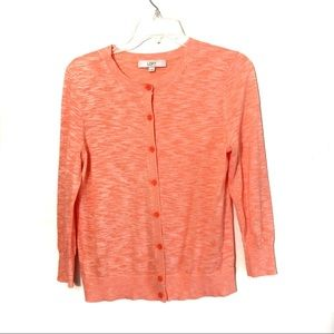 Loft heathered orange button down cardigan